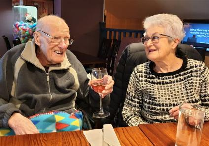Ivybank House Care Home, Bath-Resident Ken and his wife Barbara enjoying their dinner out together