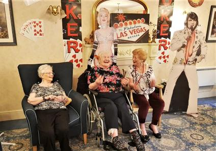 Broadway Halls had a Las Vegas themed murder mystery - to work out who poisoned Lola the Showgirl? Residents Jean, Lil and Pat have fun mulling over the evidence working out the culprit