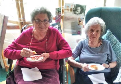 The Cedars Care Home in Bourne. Residents enjoyed talking about how Chinese New Year traditions are very different to ours, sampled tasty food and opened fortune cookies! Jean and Sarah sample the Chinese delights