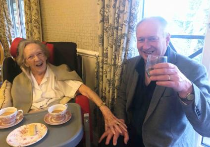 This was a special day for Hungerford resident June who is half Scottish, here she is enjoying the day with relative Stuart