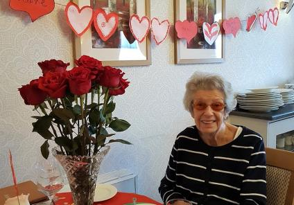 Kingston Care Home, Surrey. Resident Frances enjoying our Valentine's Day afternoon tea