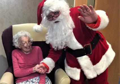 Resident Betty was over the moon to meet Santa