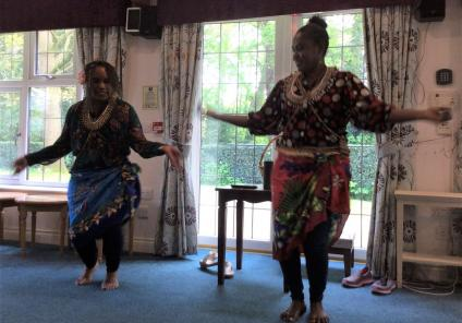 Lawton Manor Care Home, Staffordshire-Kate and Muriel demonstrate some of their traditional dance moves