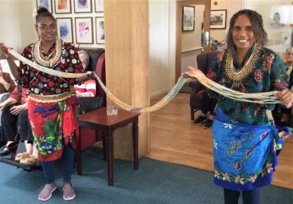 Lawton Manor Care Home, Staffordshire-Muriel and Kate bringing their dances from the Solomon Island