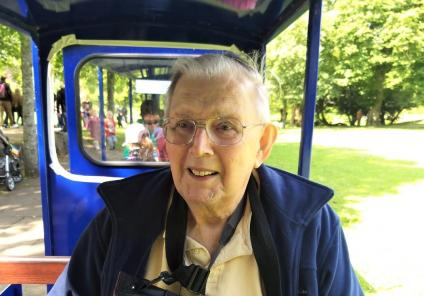 Lawton Manor Care Home, Staffordshire-Resident Patrick taking a ride on the miniature train
