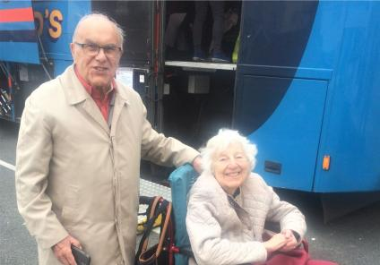 Lawton Manor Care Home, Staffordshire-Resident Peggy was thrilled to meet up with her friend Eric in Llandudno