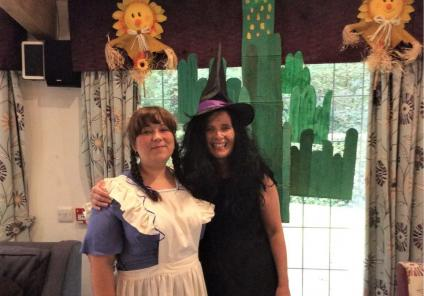 Lawton Manor Care Home, Staffordshire-Team members Liz and Dawn as Dorothy and The Wicked Witch