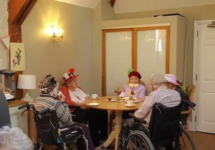 Left to right - residents Betty Manser, Peggy Straddling, Kay Hazlewood and Len Handley