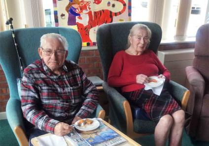 The Cedars Care Home in Bourne. Residents enjoyed talking about how Chinese New Year traditions are very different to ours, sampled tasty food and opened fortune cookies! Maurice and Maureen try some lovely spring rolls
