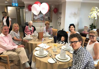 Meyrick Rise Care Home, Dorset-Addalane surrounded by her family at her special birthday lunch