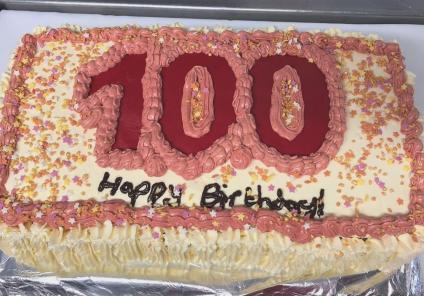 Meyrick Rise Care Home, Dorset-Addalane's 100th birthday cake specially made by chef Thomasz
