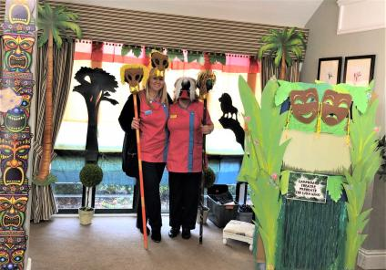 Meyrick Rise Care Home-Magic Moments Club Coordinators Vicki & Leanne ready to perform in our production of The Lion King