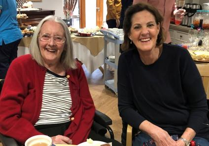 Meyrick Rise Care Home, Dorset-Resident Betty enjoying the party with her family
