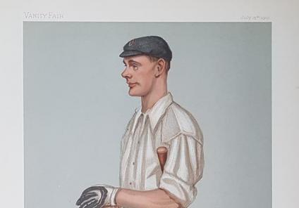 Mill House Care Home, Oxfordshire-A  caricature of Gilbert Jessop from Vanity Fair dated 1901