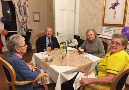 Ross Court Care Home in Ross-on-Wye enjoyed a Murder Mystery Dinner Party, solving who poisoned the butler! Residents Peter and Margaret enjoying the evening with Senior Care Assistant Brenda