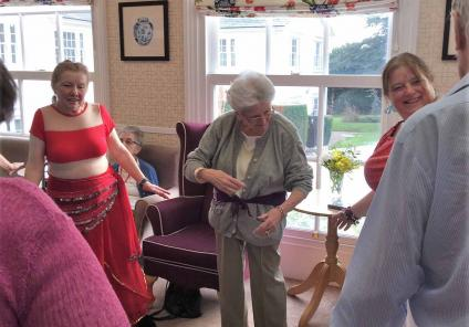 Resident Pam joining in with the dancers