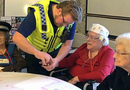 Meyrick Rise in Bournemouth solved a murder by completing puzzles riddles and challenges, with help from the Dorset Police. Resident Pam having her fingerprints taken to rule out any suspects!