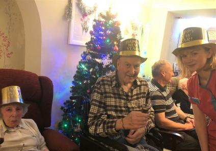 Mill House Care Home in Oxfordshire celebrate new years eve