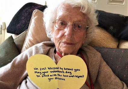 Ross Court Care Home, Herefordshire. At 101 years young, resident Madge never thought she'd get another Valentine's card!