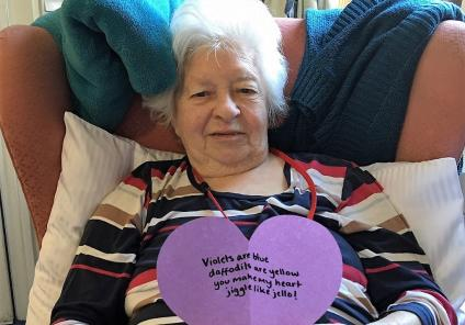 Ross Court Care Home, Herefordshire. Resident Vilma was delighted to find a Valentine's message had been posted under her door when she woke up