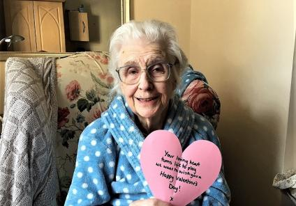 Ross Court Care Home, Herefordshire. Resident Winifred was overjoyed to receive a Valentine's message from the team