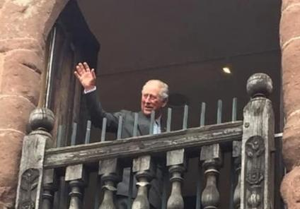 Ross Court Care Home, Herefordshire-Prince Charles waving from the balcony of Market House