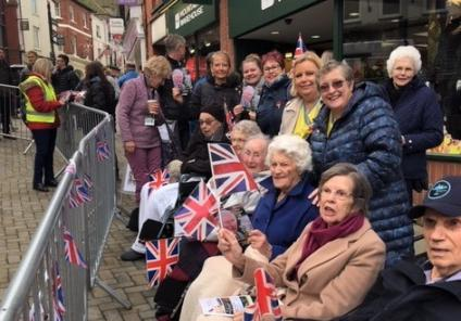 Ross Court Care Home, Herefordshire-Residents and team members in their front row seats waiting for Prince Charles to arrive