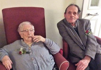 At Mill House Care Home in Witney, Pino and Roy enjoy the Valentine's entertainment and afternoon tea. This year they will celebrate 43 years of marriage!