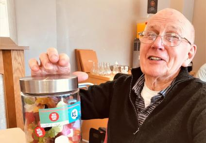 Scarborough Hall Care Home, North Yorkshire. Resident Lawrence won our 'guess how many sweets' competition, here he is with his winnings which he promptly shared with everyone