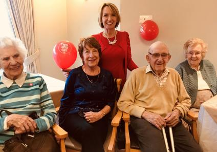 Scarborough Hall Care Home, North Yorkshire. Residents Topsy and Jenny, team member Liz and residents Ron and Mavis having fun