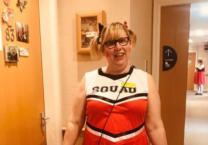 Scarborough Hall Care Home, North Yorkshire. Team member Wendy dressed up as a cheerleader