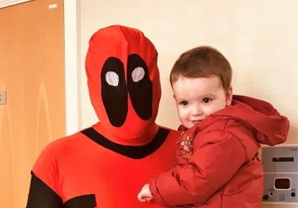 Scarborough Hall Care Home, North Yorkshire. The winner of our fancy dress competition, Care Assistant Jamie dressed as Deadpool, with his daughter Astrid
