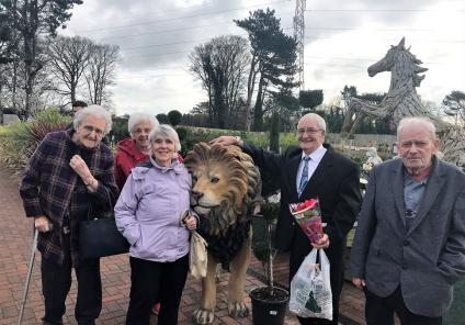 Residents Eileen Clarke, Rachel Thorpe, Wini Whilde, Gordon Smith and Robert Whitter exploring the delights of Irton Garden Centre
