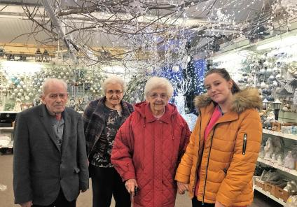 Residents Robert Whitter, Eileen Clarke, Rachel Thorpe and Senior Carer Lauren Thomson enjoying their trip to the garden centre