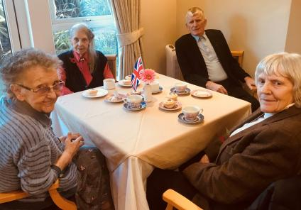 Residents Sheila, Pat, Dennis and Ann at our afternoon tea