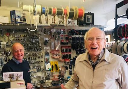 Scarborough Hall Care Home, North Yorkshire-Resident Lawrence enjoys talking tackle in the fishing shop