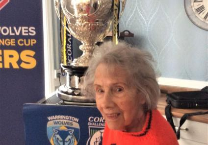 St Oswalds House Care Home, Cheshire-Resident Brenda who is a keen supporter with The Challenge Cup