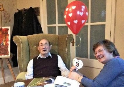 The Berkshire Care Home, Wokingham. Resident George and his daughter enjoying Valentine's Day