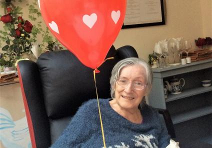 The Berkshire Care Home, Wokingham. Resident Shirley with her Valentine's balloon