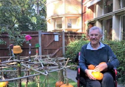 The Berkshire Care Home, Wokingham-Resident Graham with our amazing crop of pumpkins