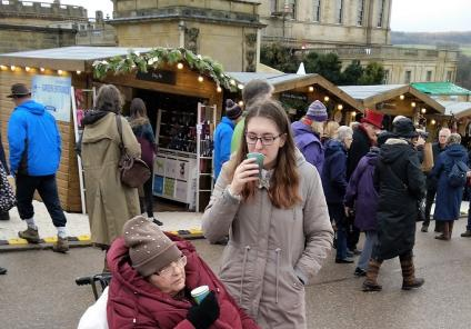 Resident Carol and her granddaughter Rosie enjoying a hot toddy at Chatsworth