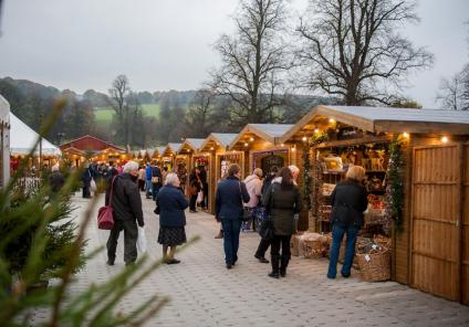Some of the many stalls at Chatsworth Christmas Market