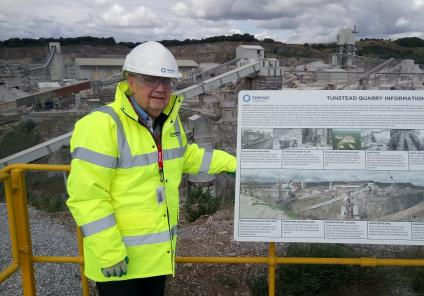 Ken overlooking Tunstead Quarry where he used to work