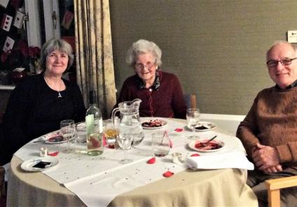 The Cedars Care Home, Salisbury. Resident Beryl (centre) and her family enjoying our special Valentine's dinner