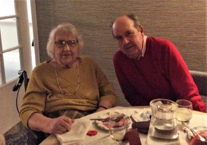 The Cedars Care Home, Salisbury. Resident Joyce and her son enjoying their meal together