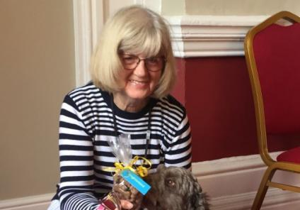 The Granby Care Home, Harrogate-Brenda with Nandy the cockerpoo who together won 'Best Six Legs'!