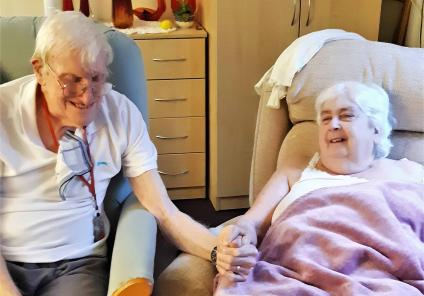 "The Wimborne Care Home in Bournemouth. Residents Joan and Brian will celebrate 60 years of marriage this year - their secret is ""working together to support one another"""