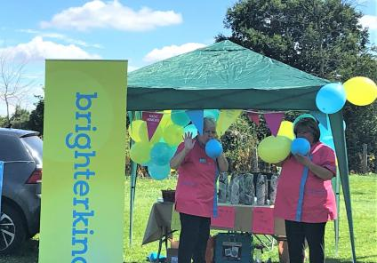 Westbury Court Care Home, Wiltshire-Magic Moments Club Coordinators Suzanne and Linda decorating our Water or Wine stall