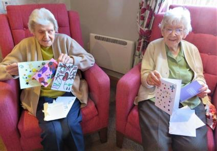 Westbury Court Care Home, Wiltshire-Marjorie and Rena opening more cards