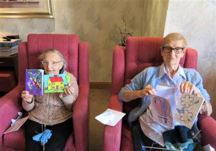 Westbury Court Care Home, Wiltshire-Mary and Lois are delighted to receive the wonderful cards